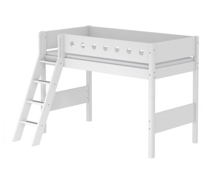 Letto elevato FLEXA White con scala inclinata